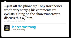 Lance Armstrong's Twitter response to Kornheiser comments