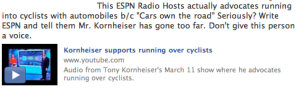 Tony Kornheiser ESPN Facebook Update